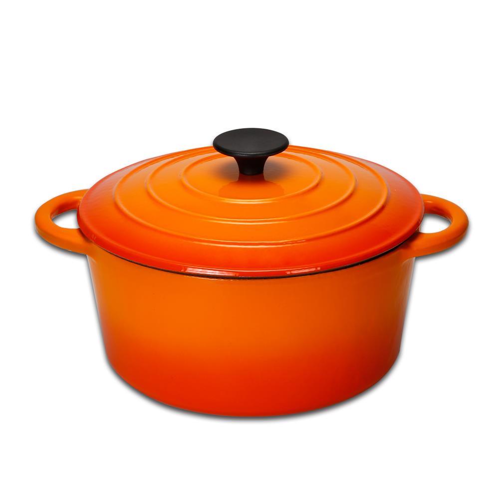 鍋寶 歐風琺瑯鑄鐵鍋-24CM-火焰橘