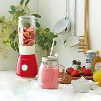 Recolte 日本麗克特Solo Blender Solen復古果汁機 蘋果紅 1機2杯組(300ml玻璃瓶+400ml Tritan隨行杯) 贈專用食譜 可做飲品/冰沙/湯品/沙拉佐醬/各式醬汁等