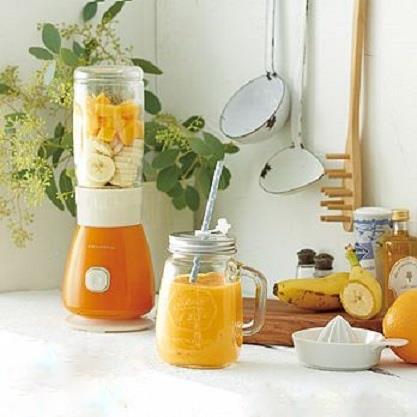 Recolte 日本麗克特Solo Blender Solen復古果汁機 沁橙橘 1機2杯組(300ml玻璃瓶+400ml Tritan隨行杯) 贈專用食譜 可做飲品/冰沙/湯品/沙拉佐醬/各式醬汁等