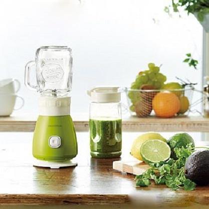 Recolte 日本麗克特Solo Blender Solen復古果汁機 樂活綠 1機2杯組(300ml玻璃瓶+400ml Tritan隨行杯) 贈專用食譜 可做飲品/冰沙/湯品/沙拉佐醬/各式醬汁等