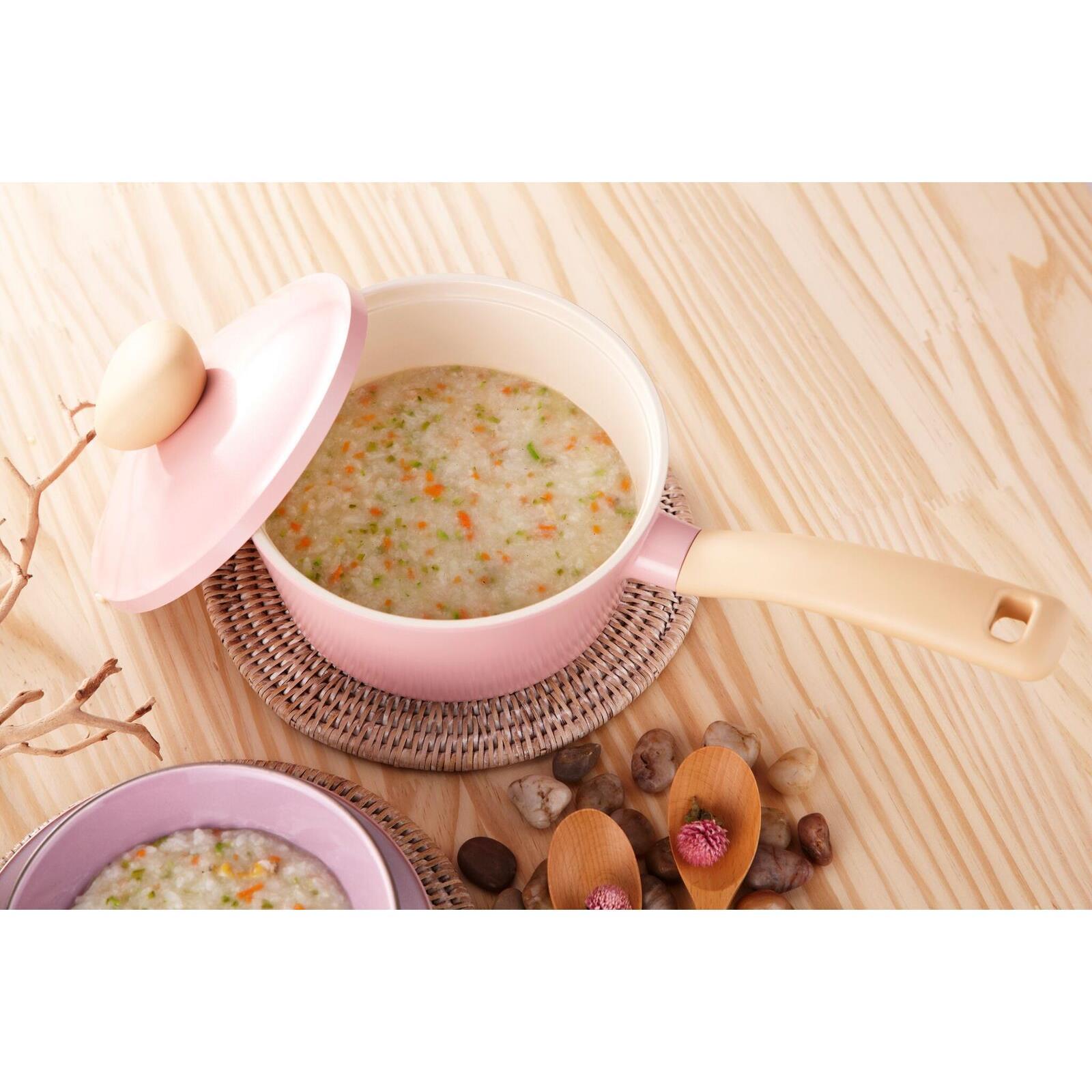 NEOFLAM 韓國原裝Retro系列 18cm不沾陶瓷單柄湯鍋 含陶瓷塗層鍋蓋 粉色