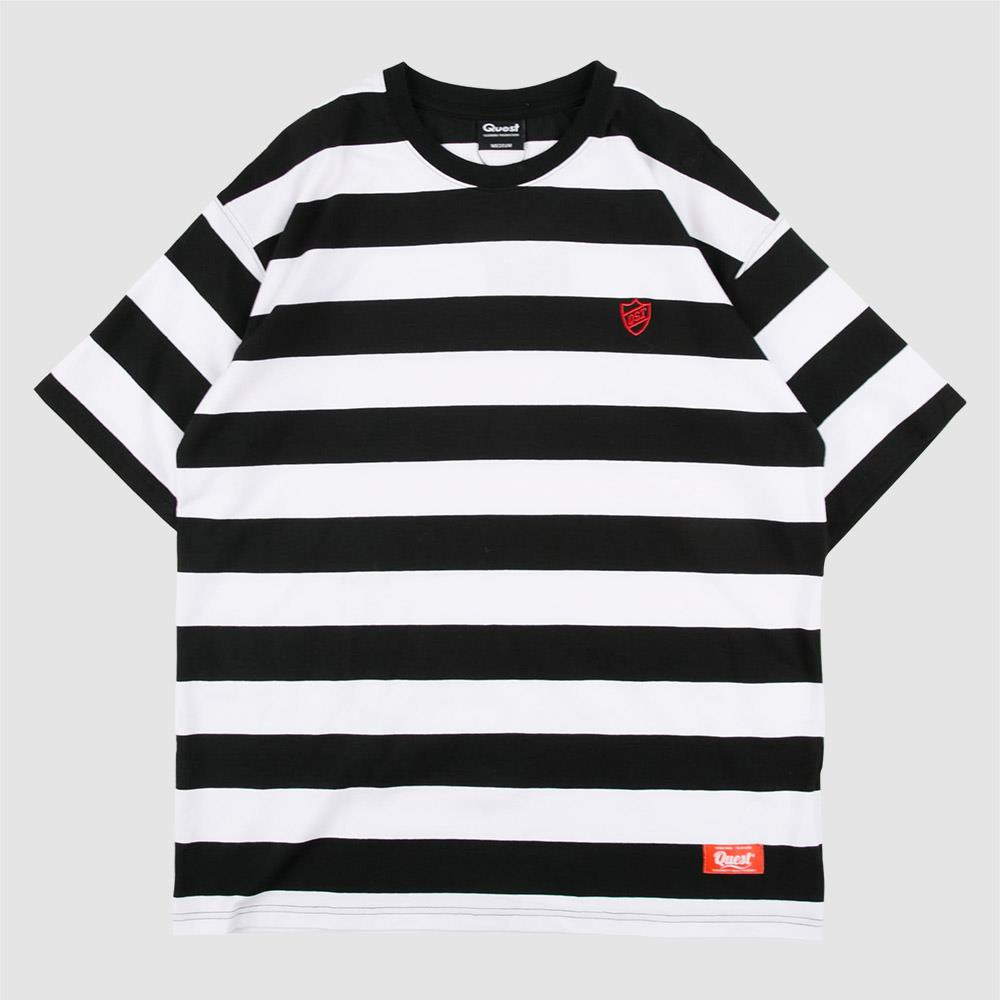 【QUEST】STRIPED OVERSIZE TEE 橫條紋短T