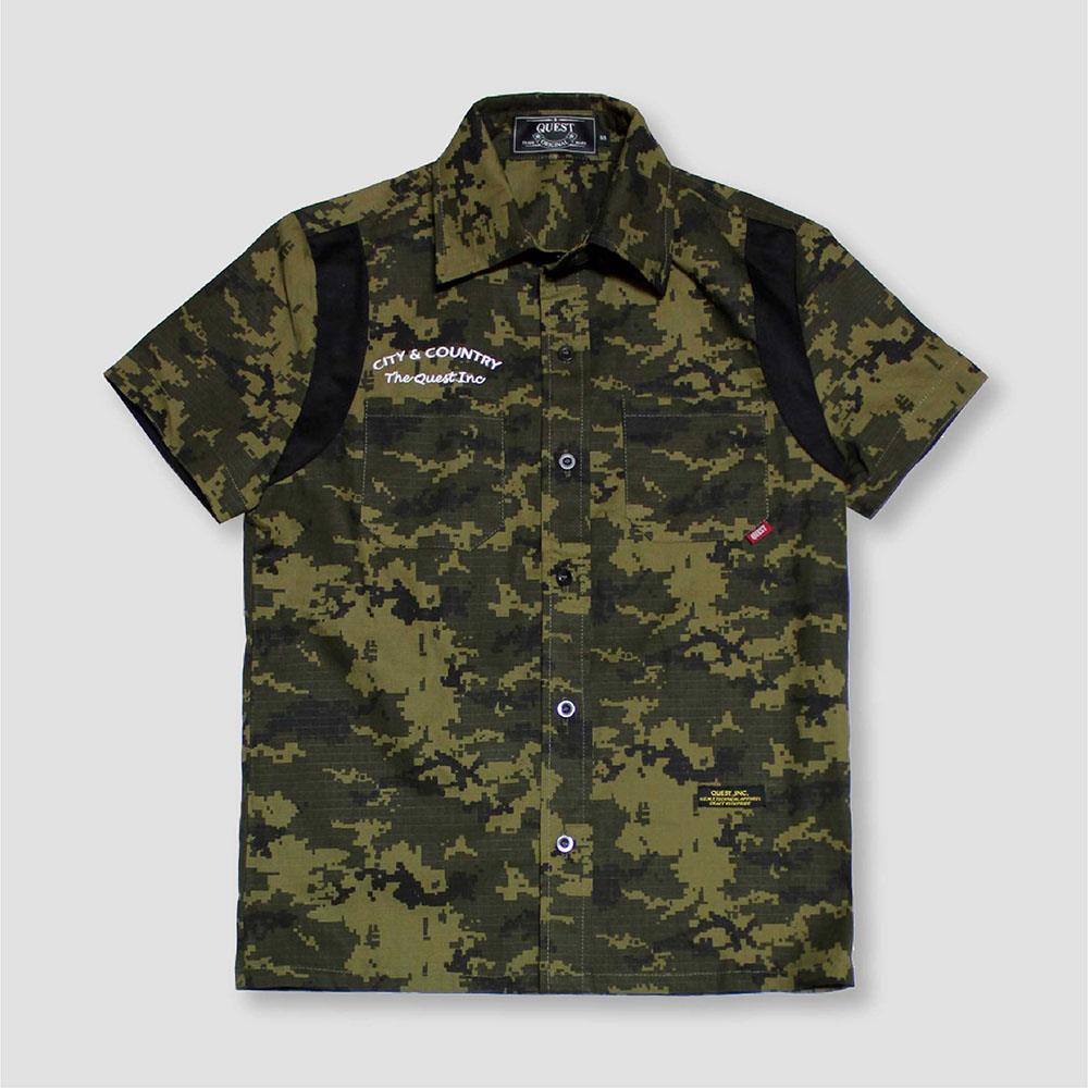 【QUEST】DIGITAL CAMO SHIRT 數位迷彩工作襯衫
