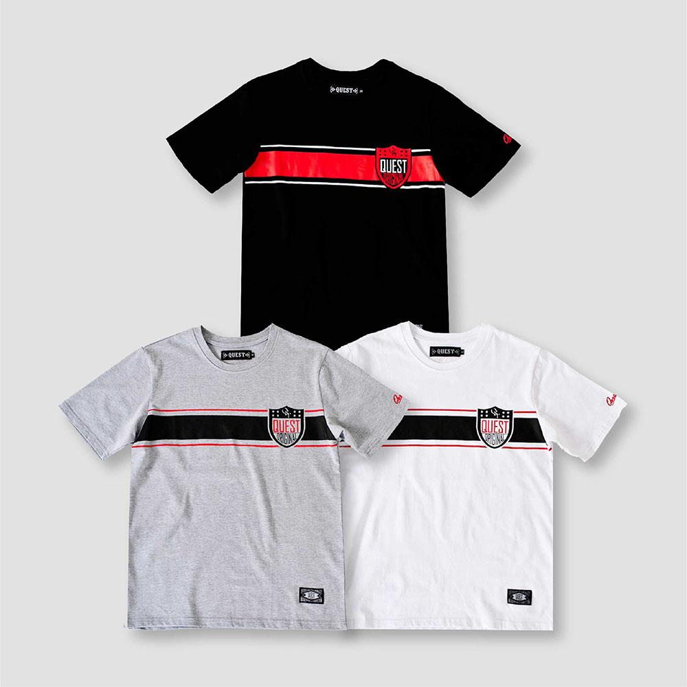 【QUEST】STRIPE SHIELD TEE 條紋盾牌短T