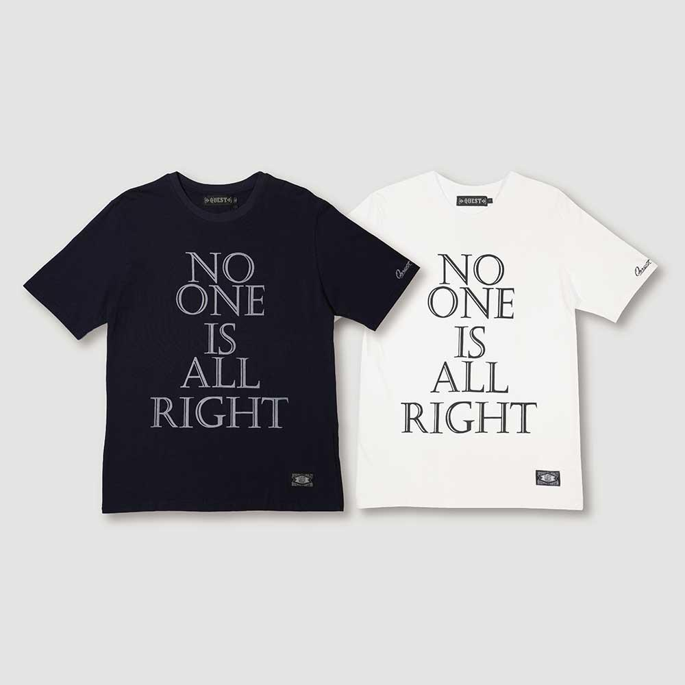 【QUEST】NO ONE IS ALL RIGHT TEE 短T / 深藍 白