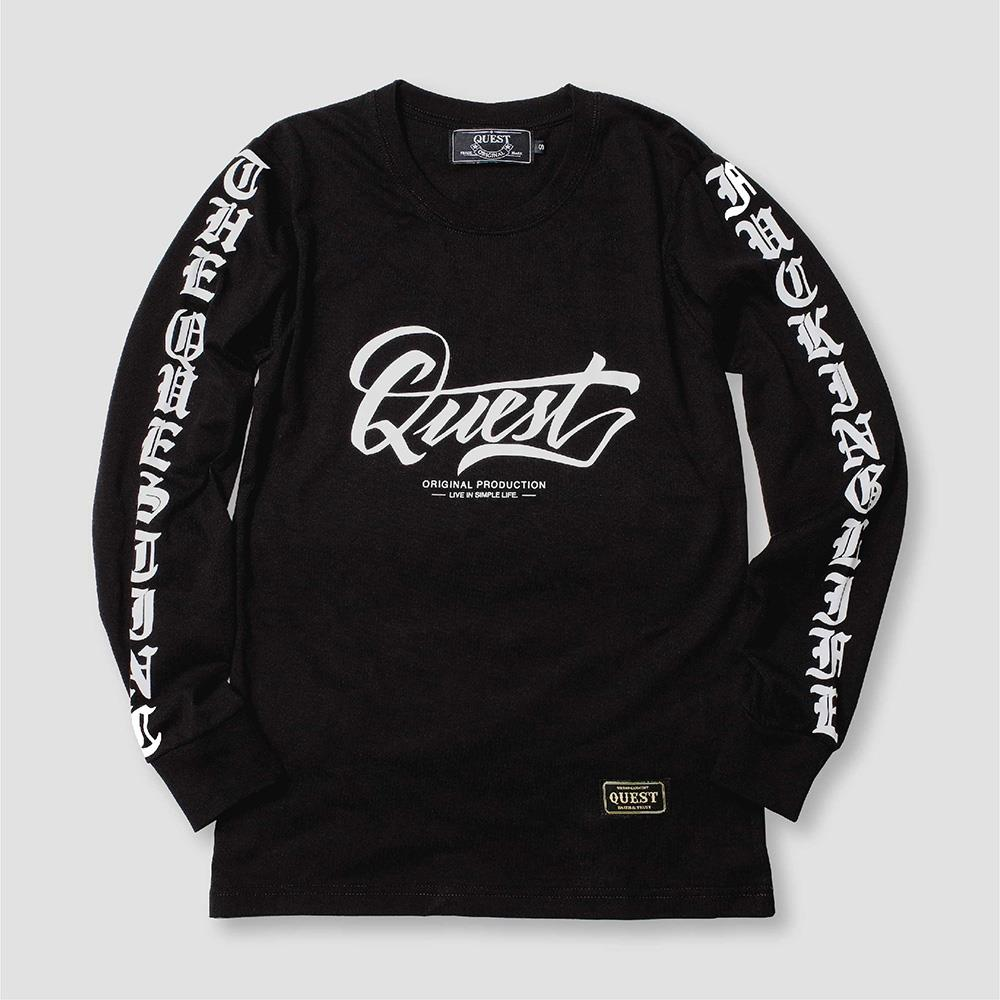 【QUEST】BLACK LOGO TEE  暗黑風 薄長T