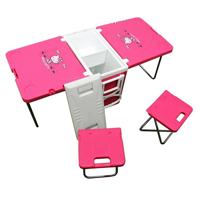 【Hello Kitty】折疊冰箱座桌椅組(戶外活動/摺疊桌椅)