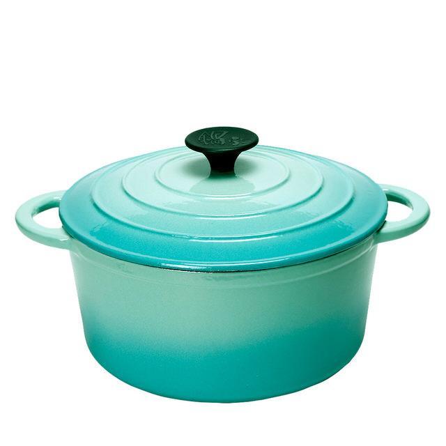 鍋寶 歐風琺瑯鑄鐵鍋-22CM-湖水綠