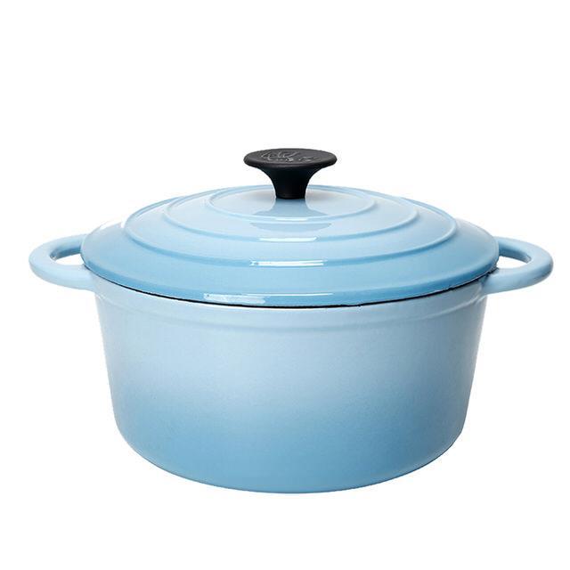 鍋寶 歐風琺瑯鑄鐵鍋-22CM-地中海藍