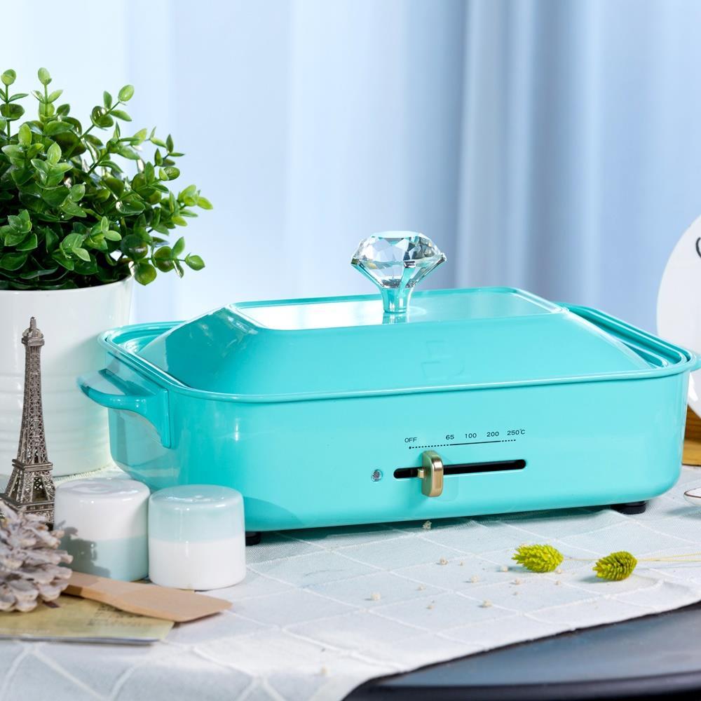 (快閃限定↘再折$259) Tiffany蒂芬妮鑽石電烤盤/煎烤爐/多功能烹調 (含獨家鑽石鍋蓋把手、平底、章魚燒烤盤)