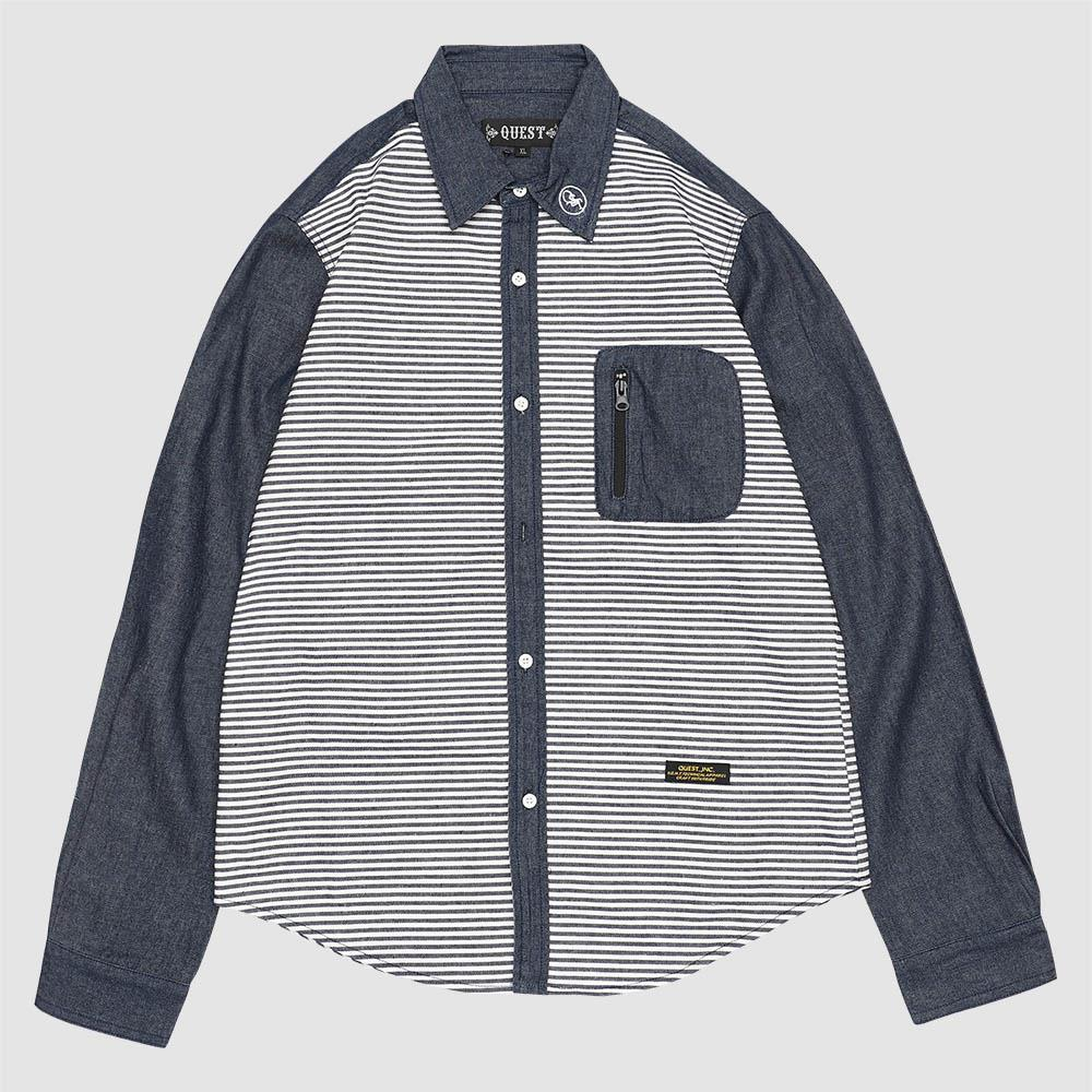 【QUEST】STRIPED DENIM SHIRT 條紋牛仔襯衫