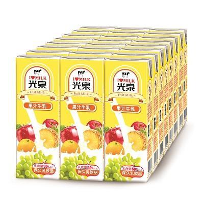 【光泉】保久乳 果汁牛乳200ml*6入(4組/箱)