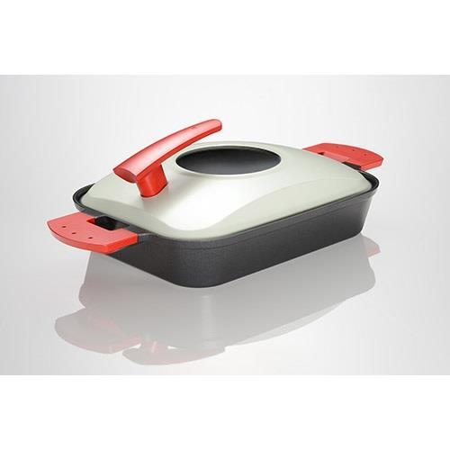 日本代購【UCHICOOK】新水蒸氣式 健康燒烤蒸煮鍋 紅色
