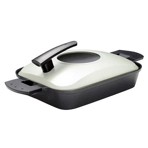 日本代購【UCHICOOK】新水蒸氣式 健康燒烤蒸煮鍋 黑色