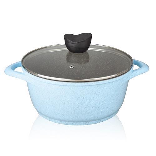 【NEOFLAM】彩色岩礦陶瓷不沾湯鍋24cm-藍色(電磁底)