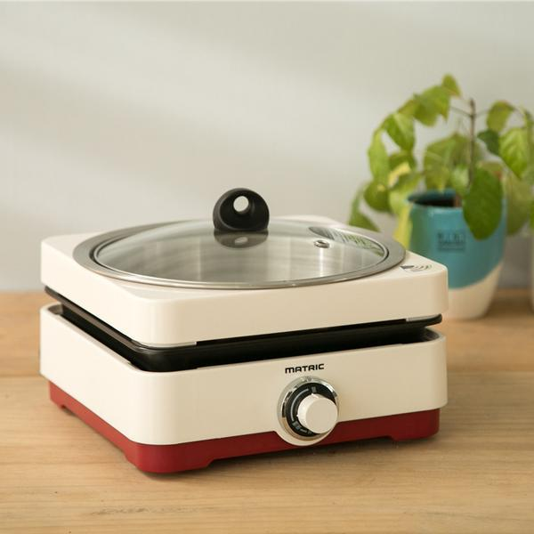 MATRIC松木家電 全功能鍋物+煎烤油切兩用鍋 附玻璃蓋 MG-PG0801 一鍋料理