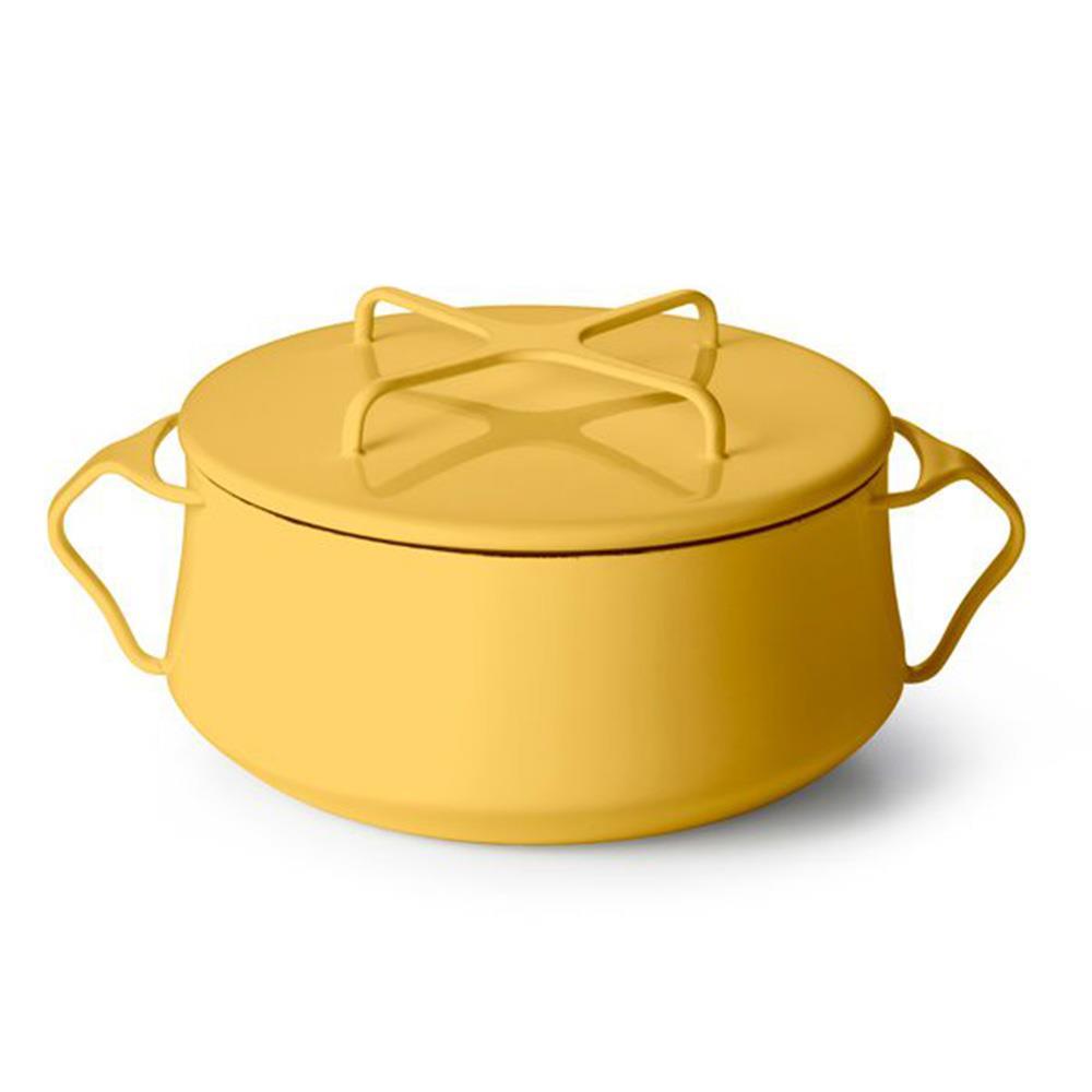 DANSK 琺瑯雙耳燉煮鍋/雙耳琺瑯鍋/燉鍋(附蓋) 黃色 限定色 18cm