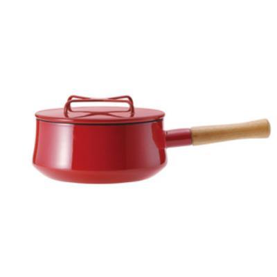 DANSK 琺瑯單耳燉煮鍋/琺瑯木柄片手鍋 2QT 紅色 18cm