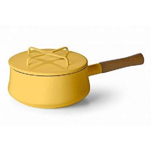 DANSK 琺瑯單耳燉煮鍋/琺瑯木柄片手鍋 2QT 黃色 18cm