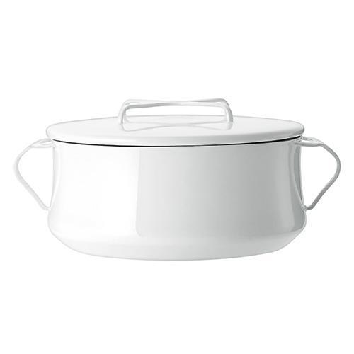 DANSK 琺瑯雙耳燉煮鍋/雙耳琺瑯鍋/燉鍋(附蓋) 白色 23cm