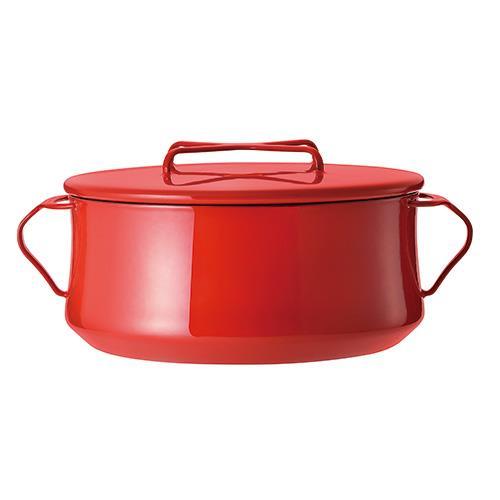 DANSK 琺瑯雙耳燉煮鍋/雙耳琺瑯鍋/燉鍋(附蓋) 紅色 23cm