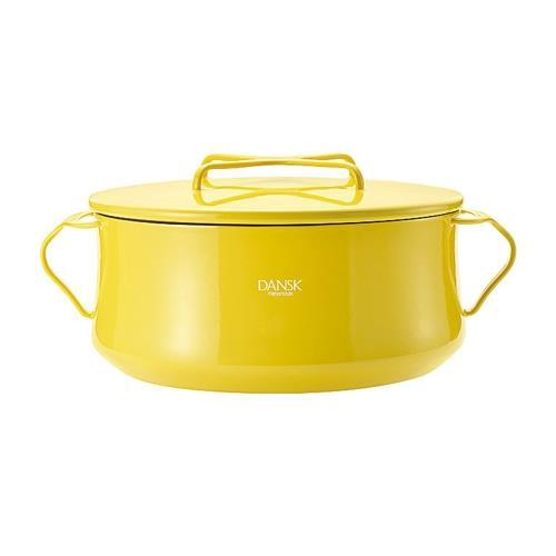 DANSK 琺瑯雙耳燉煮鍋/雙耳琺瑯鍋/燉鍋(附蓋) 黃色 23cm
