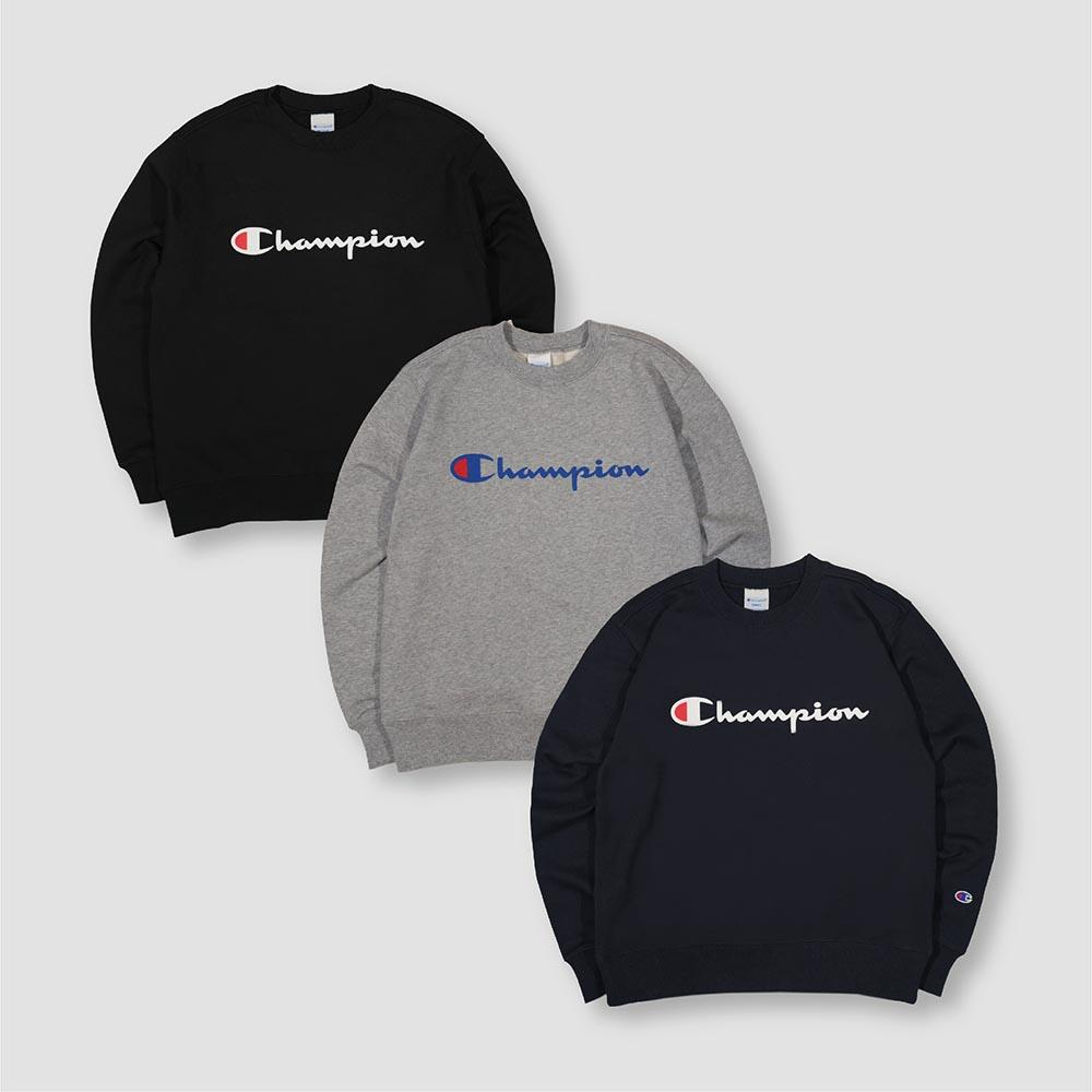 【CHAMPION】BASIC NECK SWEATSHIRT 草寫字體LOGO 四色 大學TEE