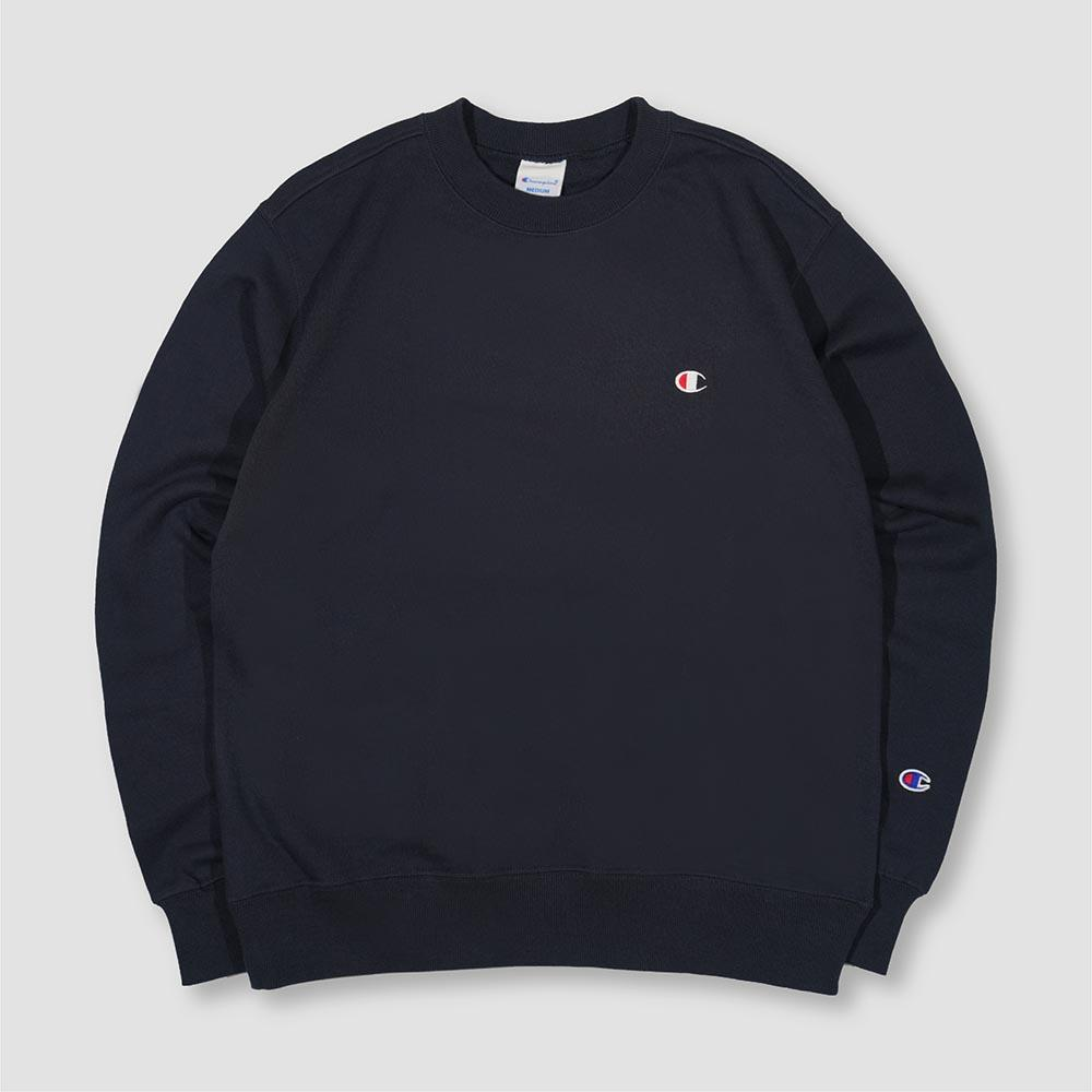 【CHAMPION】BASIC CREW NECK SWEATSHIRT  小LOGO圓領長T 藍色