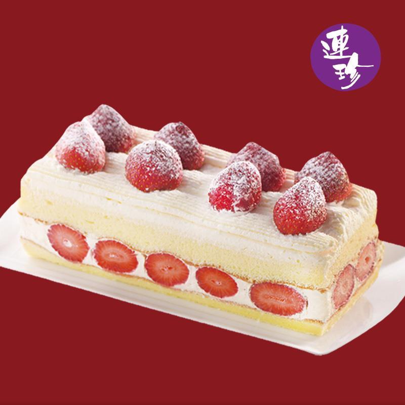 【連珍】草莓戚風長條蛋糕(600g/盒)