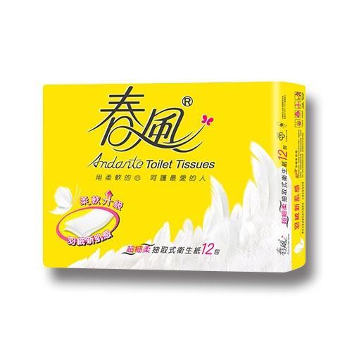 【春風】超細柔羽絨心肌感抽取式衛生紙110抽x12包x6串