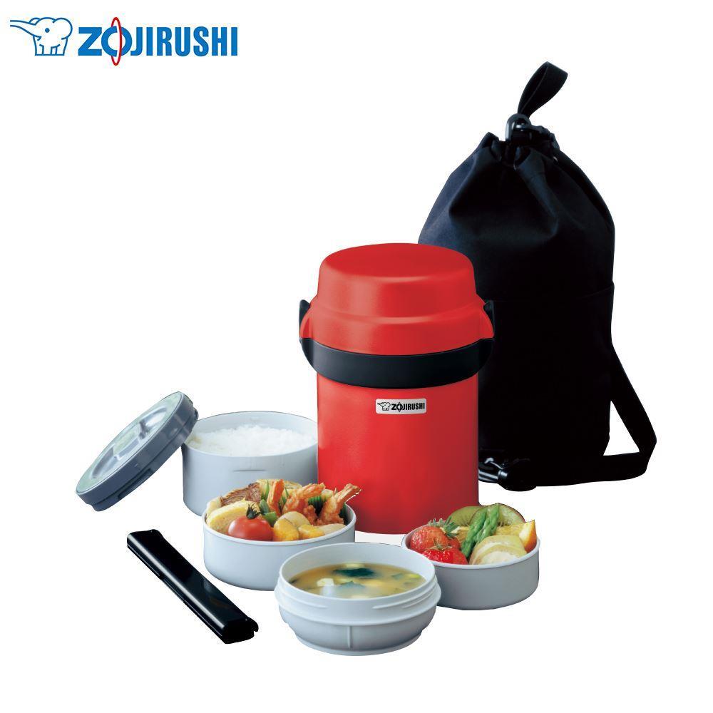 【象印】附提袋不鏽鋼保溫便當盒-2.5碗飯(SL-JAF14)-紅