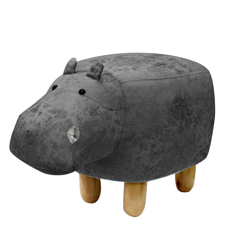 【LAMORE】限量特惠-河馬(灰)萌版動物造型多功能椅鞋凳