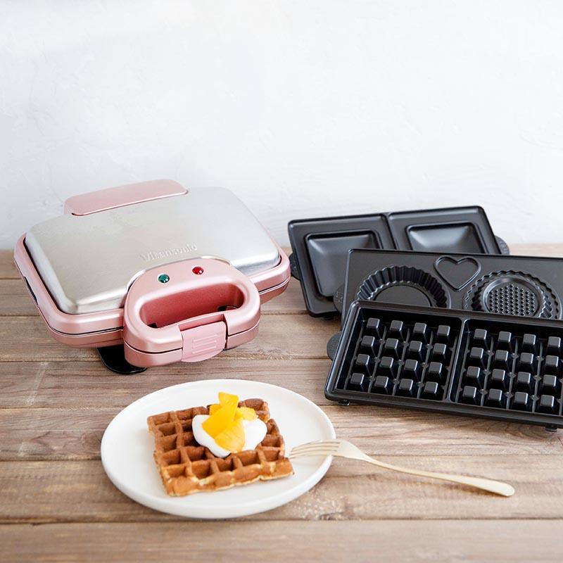 (限量↘加贈原木膠刷)日本熱銷 Vitantonio 鬆餅機 VWH-222-RP 櫻花粉 共含四款烤盤(方形鬆餅/熱壓吐司/塔皮/杯子蛋糕)