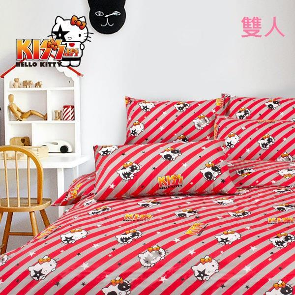 【Hello Kitty】線條 床包 雙人三件組 台灣製 BSCFDB10B01