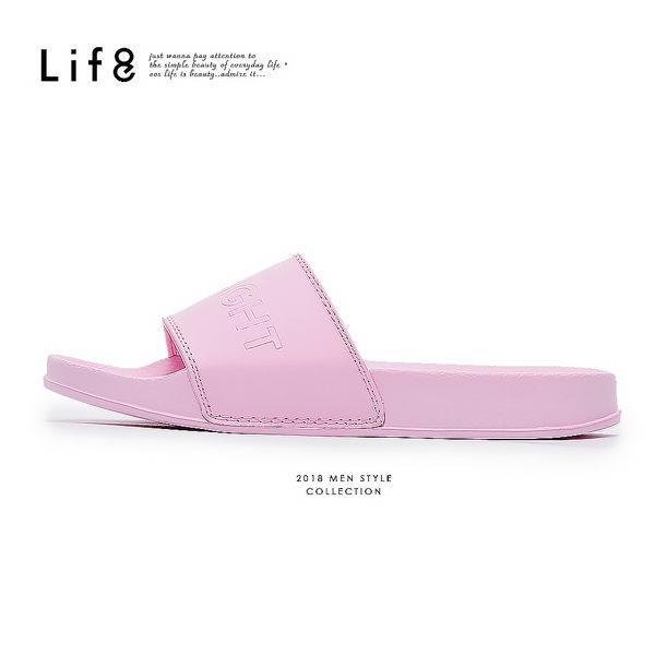 【LIFE8】Casual品牌鞋款百搭拖鞋-粉紅