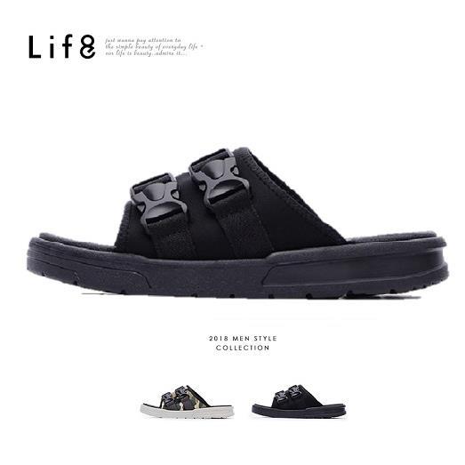 【LIFE8】Sport 輕量 彈力布 雙帶扣拖鞋09866-黑色