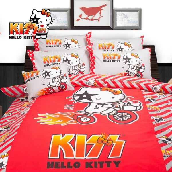 【Hello Kitty 】鐵馬 床包冬夏兩用被 雙人四件組 台灣製 BSCTTC77C05