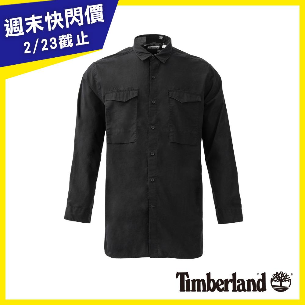 Timberland 男款黑色Suncook River Long Length Solid 襯衫|A1NMR