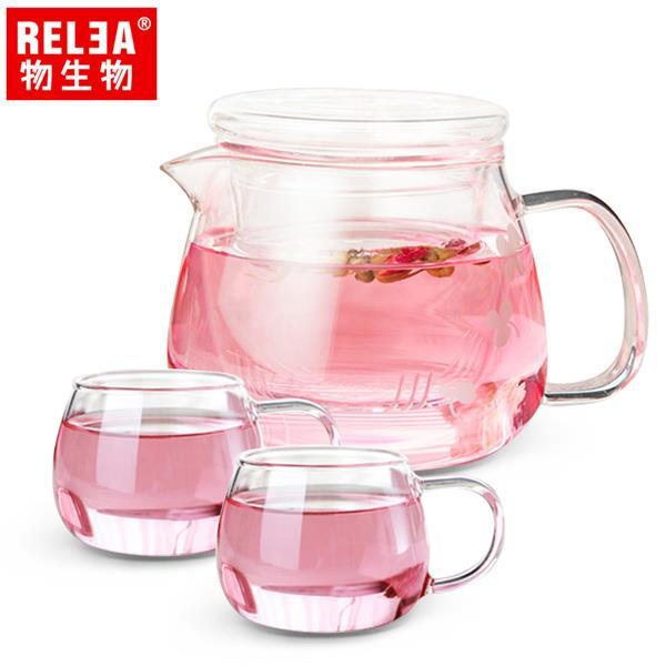 【RELEA物生物】500ml小花耐熱玻璃泡茶壺(一壺二杯套裝組)
