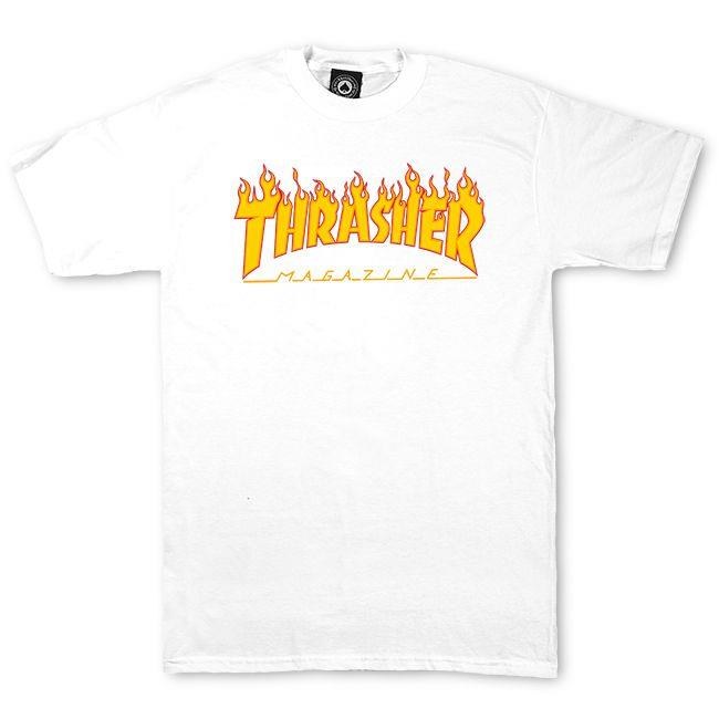 THRASHER FLAME S/S T-Shirt 短TEE 白色