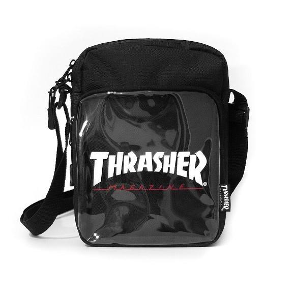 THRASHER JAPAN LICENSED HOMETOWN CLEAR SHOULDER BAG 黑色