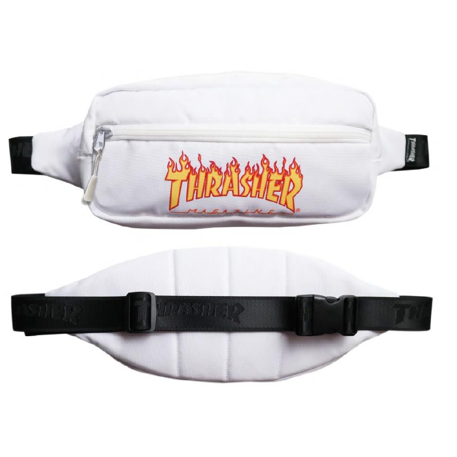 THRASHER JAPAN LICENSED FLAME FANNY PACK WAIST BAG 腰包 白色