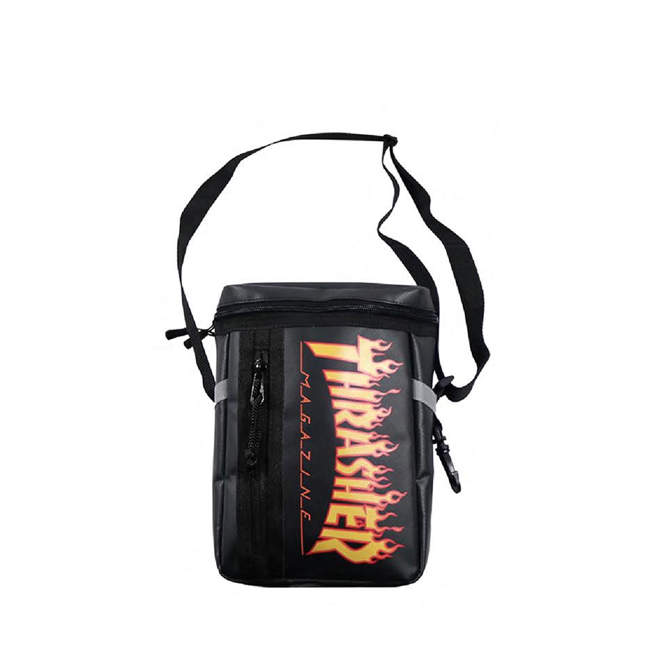 THRASHER JAPAN LICENSED FLAME BOX SHOULDER BAG 黑色