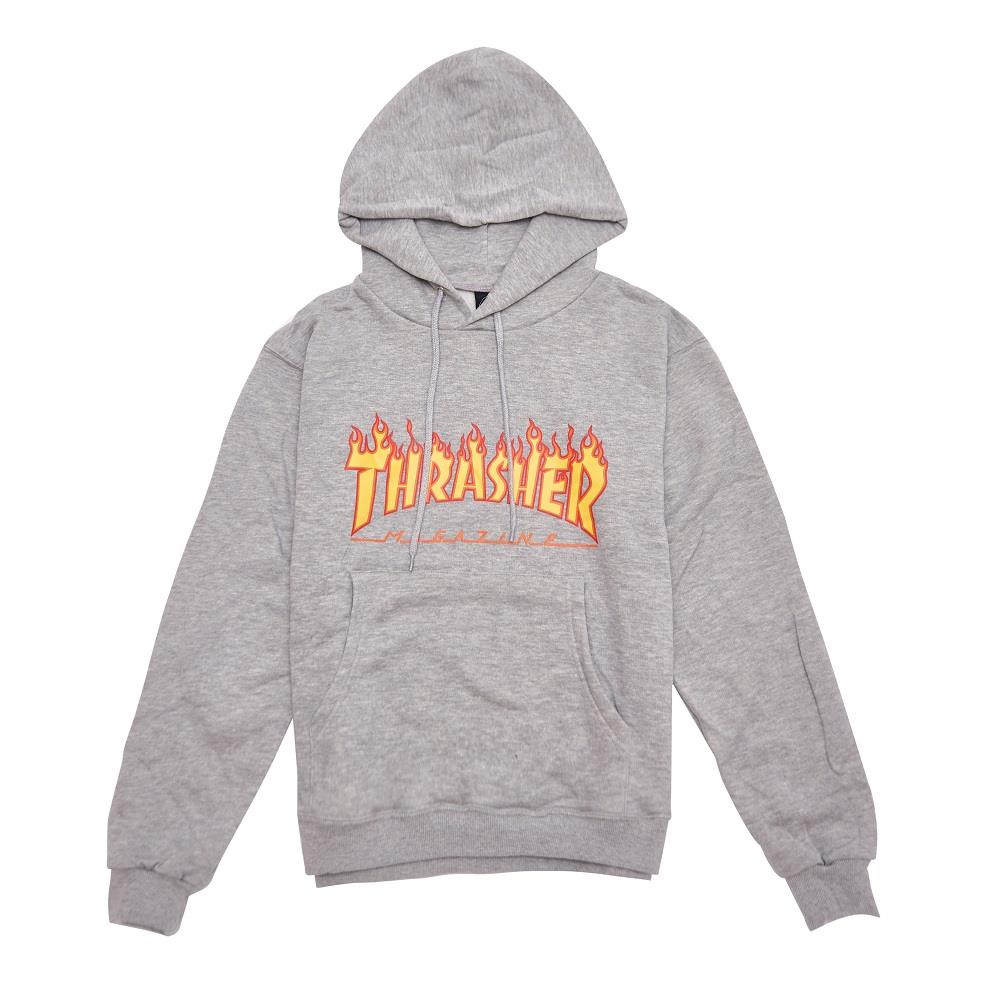 【全台獨家限量】THRASHER FLAME HOODED 帽TEE 灰色