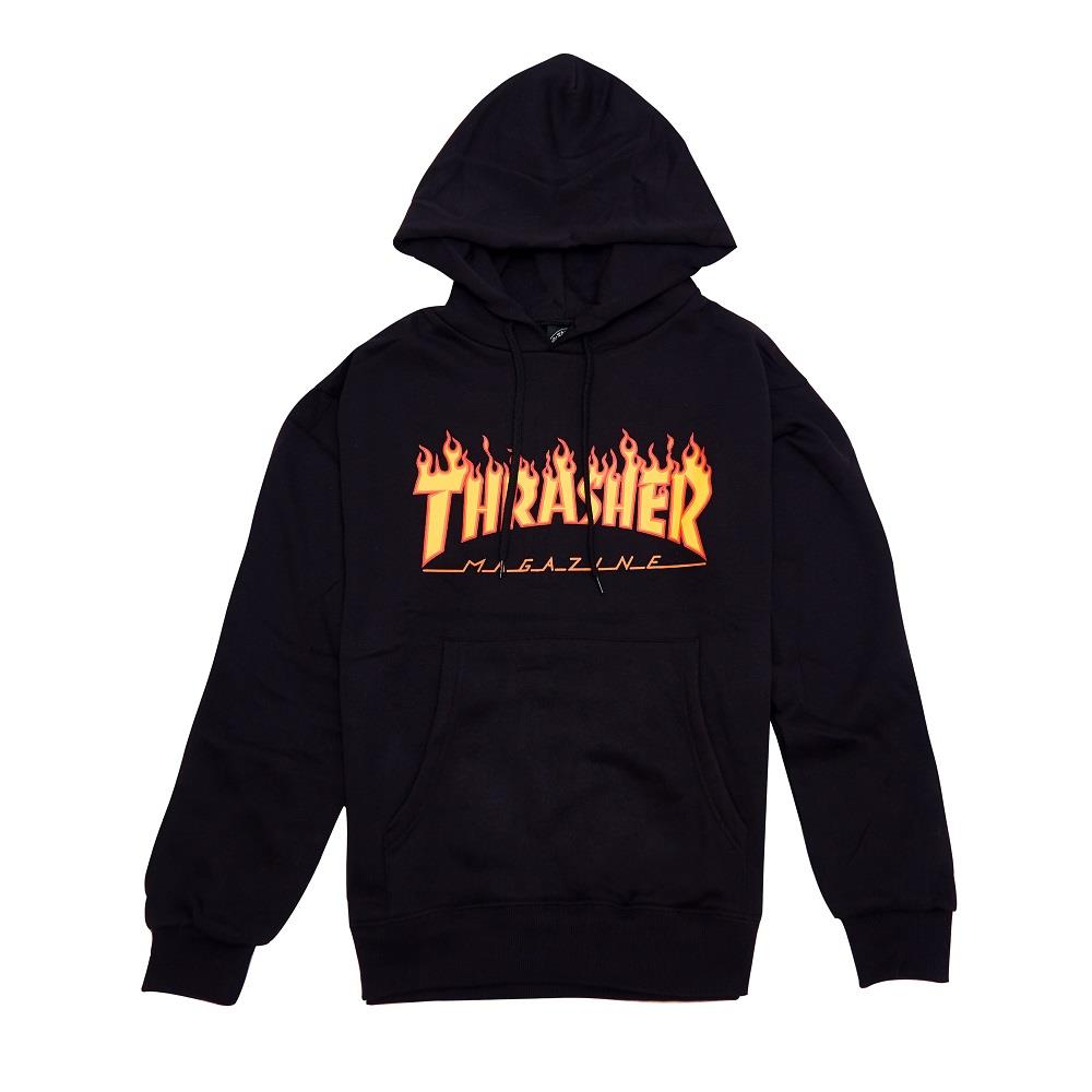 【全台獨家限量】THRASHER FLAME HOODED 帽TEE 黑色