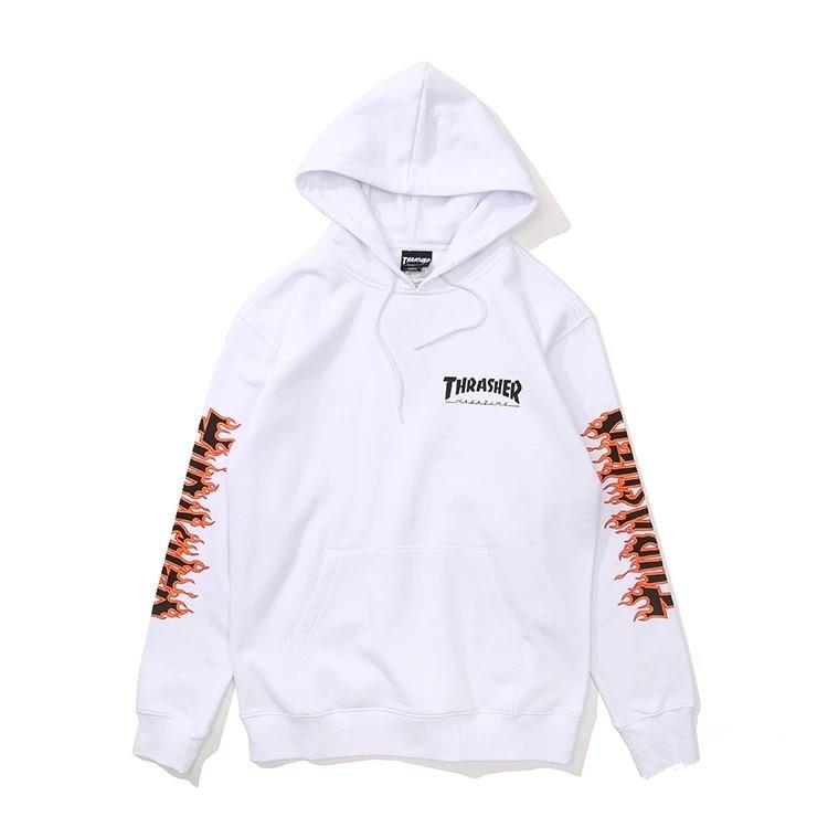 【全台獨家限量】THRASHER JAPAN LICENSED FLAME SLEEVE HOODED 帽TEE 黃火焰 白色