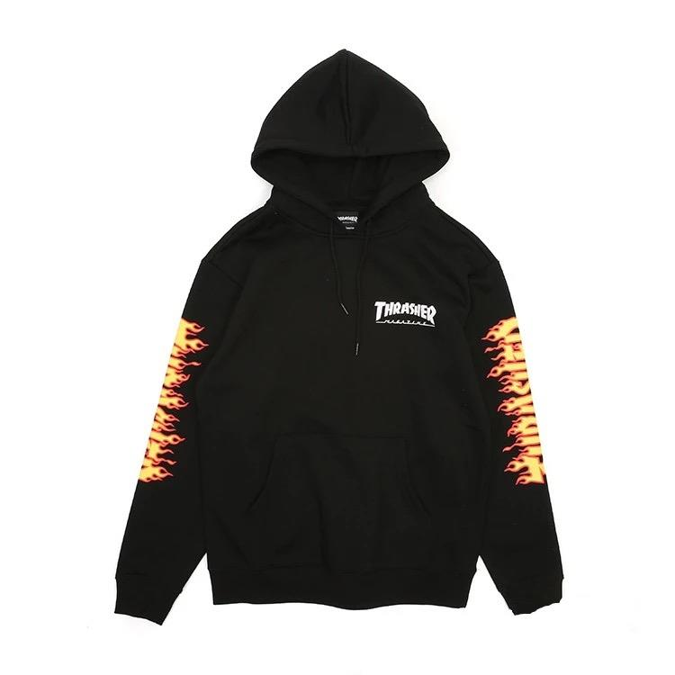 【全台獨家限量】THRASHER JAPAN LICENSED FLAME SLEEVE HOODED 帽TEE 黃火焰 黑色