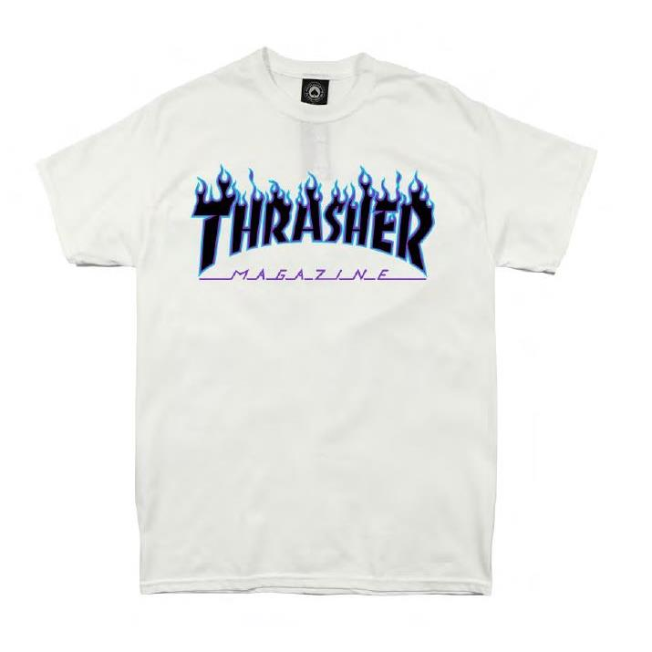 THRASHER JAPAN LICENSED FLAME T-Shirt 短TEE 火焰白紫色