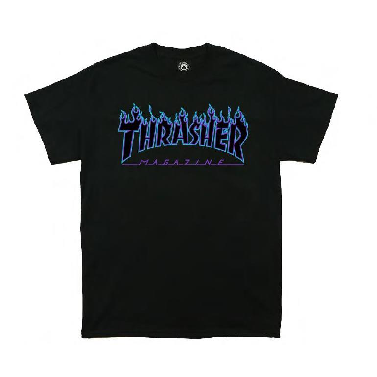 THRASHER JAPAN LICENSED FLAME T-Shirt 短TEE 火焰黑紫色