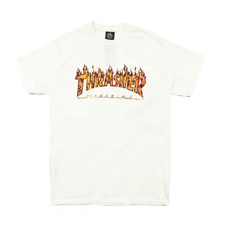 THRASHER JAPAN LICENSED REAL FIRE T-Shirt 短TEE 真火焰白色